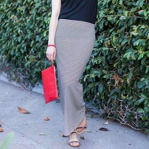 Striped Black & White Maxi Skirt