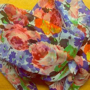 Betsey Johnson Floral Silk Scarf