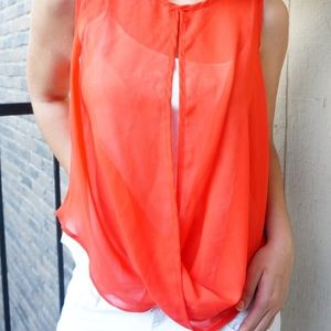 Tops - Red Sheer Keyhole High low Top