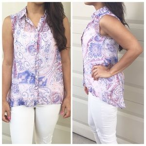 H&M Tops - Pink & Blue Paisley Print Sheer High-low Tank