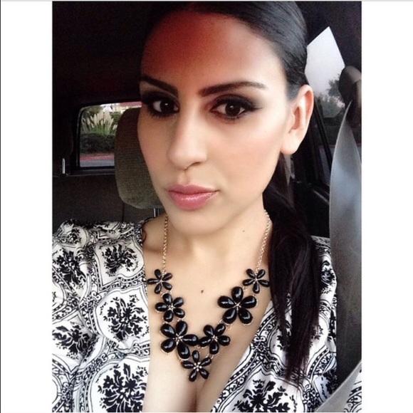 Tanya Kara Jewelry - Black Flower Necklace