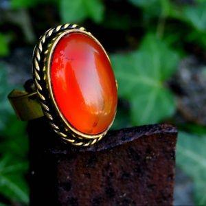 Jewelry - Natural Gemstone Carnelian Brass Ring Adjustable