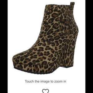 BCBG Leopard Suede Wedge Boot