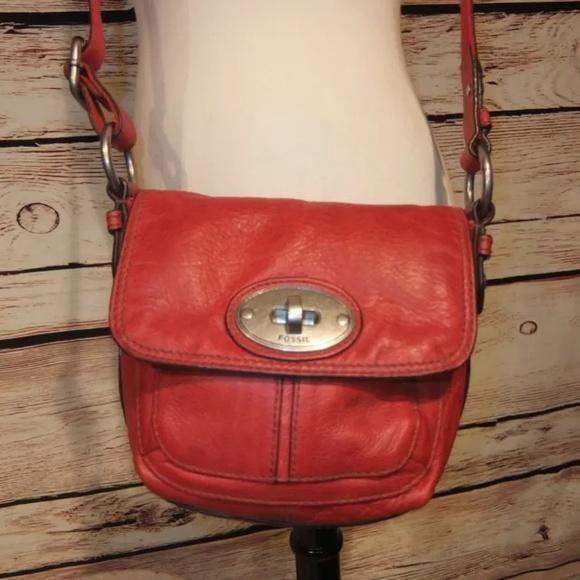 af92c90a6cb6 Fossil Handbags - Fossil Red Leather Crossbody maddox Small