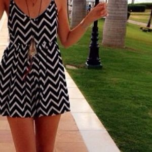 LF Navy and white chevron romper