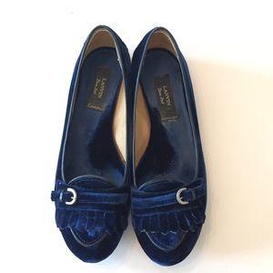 LANVIN Blue Velvet Flats