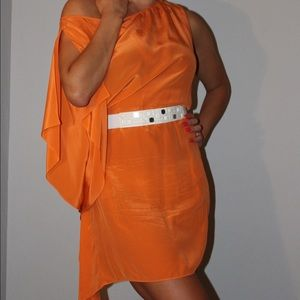 One sleeved orange dress perfect for a wedding