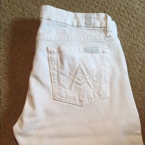 7 for All Mankind white boot cut jeans