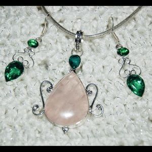 handmade & handcrafted gemstone jewelry Jewelry - Chalcedony Pendant & MultiColor Earrings Set
