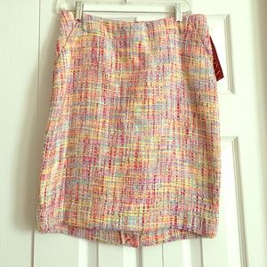 Multi-Colored Tweed Pencil Skirt