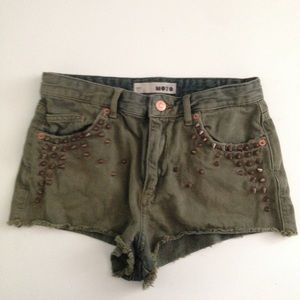Topshop Studded High Waisted Shorts