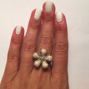 Pink and Silver flower ring