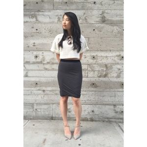 {t by alexander wang} velvet drape skirt