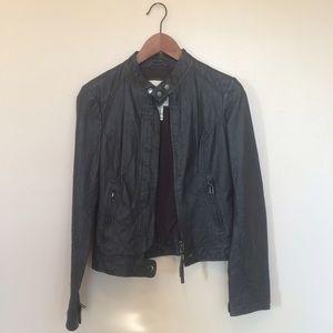 BB Dakota Jackets & Blazers - Grey Leather Moto jacket
