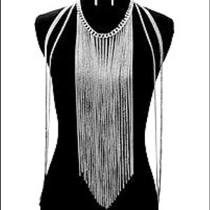 Silver Fringe Body Chain & Earrings