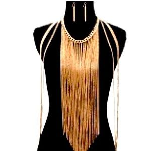 🚺Gold Fringe Body Chain & Earrings
