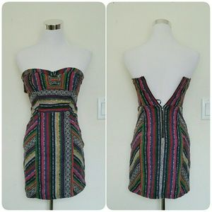 Staring at Stars UO tribal print strapless dress