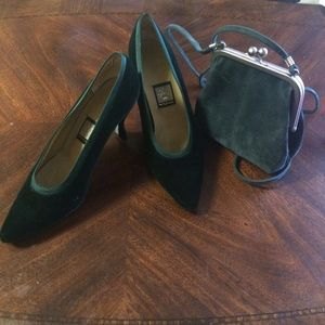 Hunter Green Velvet/Luster Sat Nina Kitten Heels