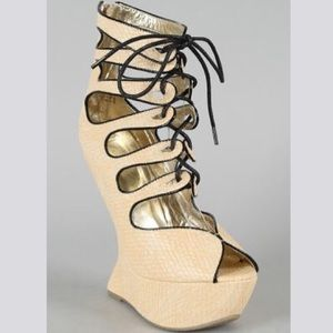 Privileged Roza Lace Up Heel Less Wedge