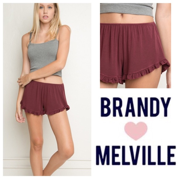 Brandy Melville - Brandy Melville Burgundy Cotton Ruffle Vodi ...
