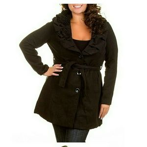 Time and a half Jackets & Blazers - Brand NEW plus size wool coat Black belted ruffle