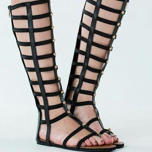 High strappy studded gladiator sandals