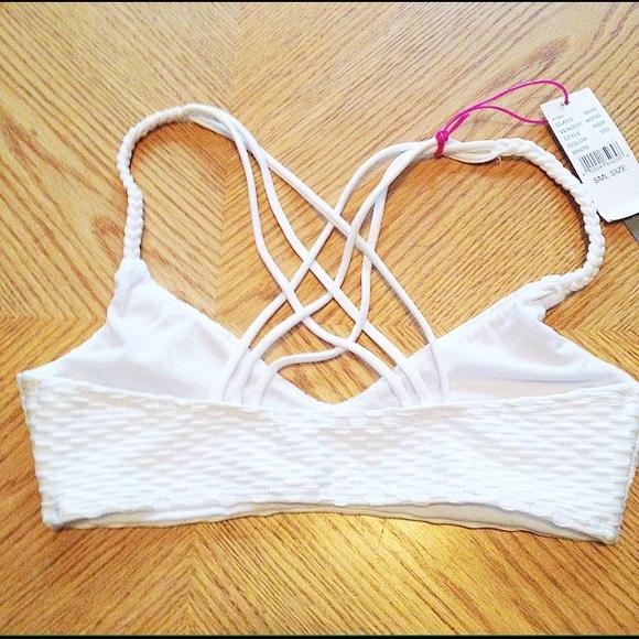 LA Hearts Tops - White Strappy Back Bikini Top