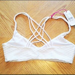 LA Hearts Tops - White Strappy Back Bikini Top