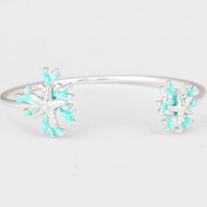 Starfish and Blue Coral Cuff Bracelet