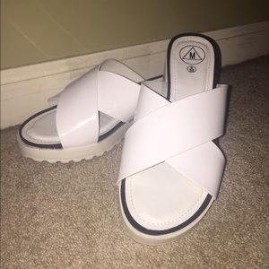 white leather criss cross sandals