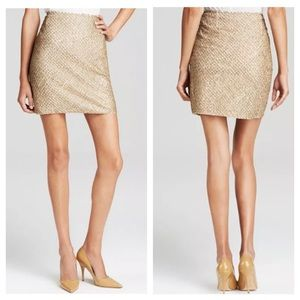 Joie Bricia Antique Gold Beaded Mini Skirt Sequins