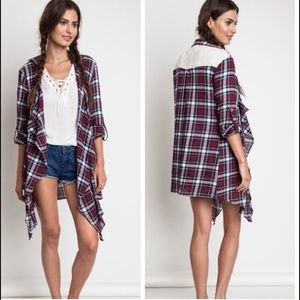 Plaid cardigan with Lace Accent