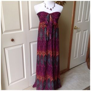 Fuchsia/Plum/Pinks Strapless Maxi Dress