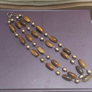 Chan Luu Jewelry - Double strand Tiger's Eye and Pearl necklace