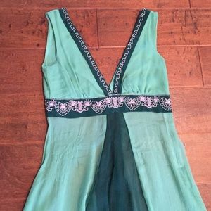 Forever 21 Tops - Green Top with Pink Beaded Embellishment
