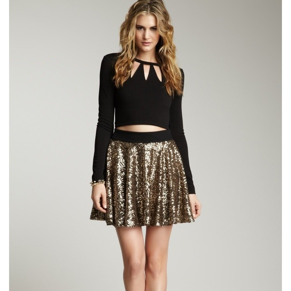 84% off MINKPINK Dresses & Skirts - Gold Sequin Skirt from ...
