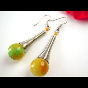 Tear drop jade earrings