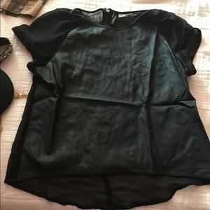 H&M Leather sheer top size 6