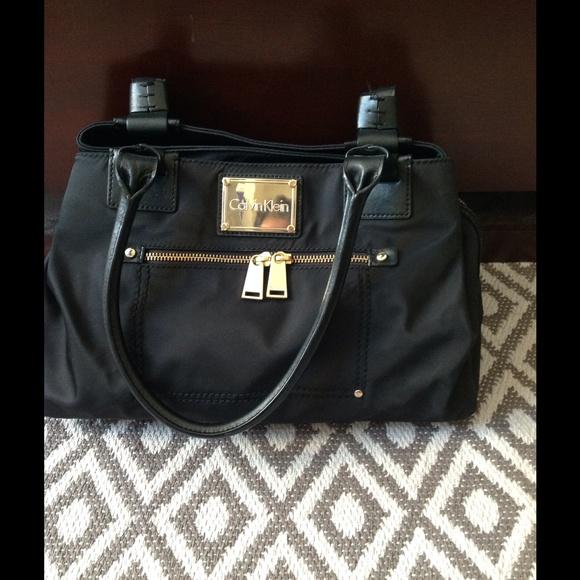 calvin klein bags black nylonleather medium size purse poshmark . 621f14b4ec