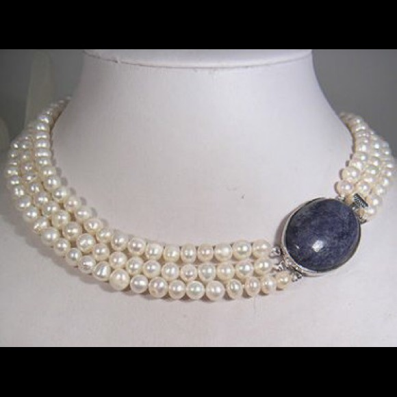 String Pearl Necklace: Three String Pearl Necklace Beautiful Blue Clasp
