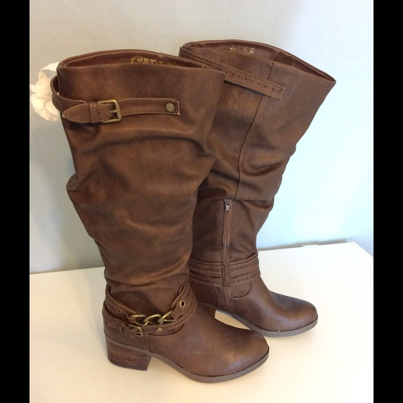 ff2c1738b5f Carlos Santana Cassie Brown Wide Calf Boots