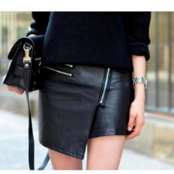28% off Divided Dresses & Skirts - H&M asymmetrical leather biker ...
