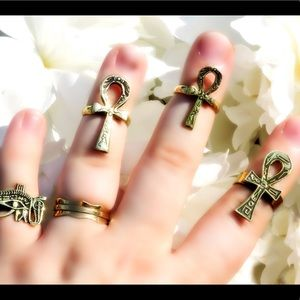 Jewelry - Solid Brass Stackable Rings Ankh Eye of Ra Udjat