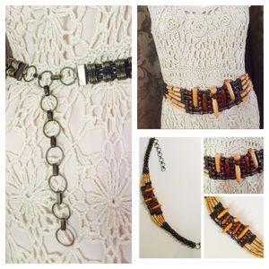 Vintage Accessories - Vintage BOHO HIPPIE TRIBAL Wood & Brass Chain Belt