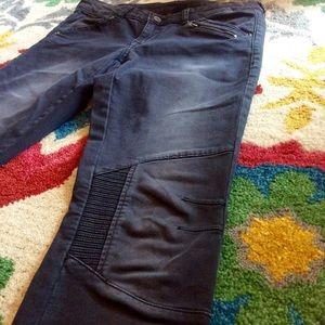 H&M Washed Black Moto Jeans