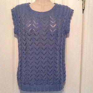 Sweaters - Baby blue handmade cap sleeve open-knit sweater