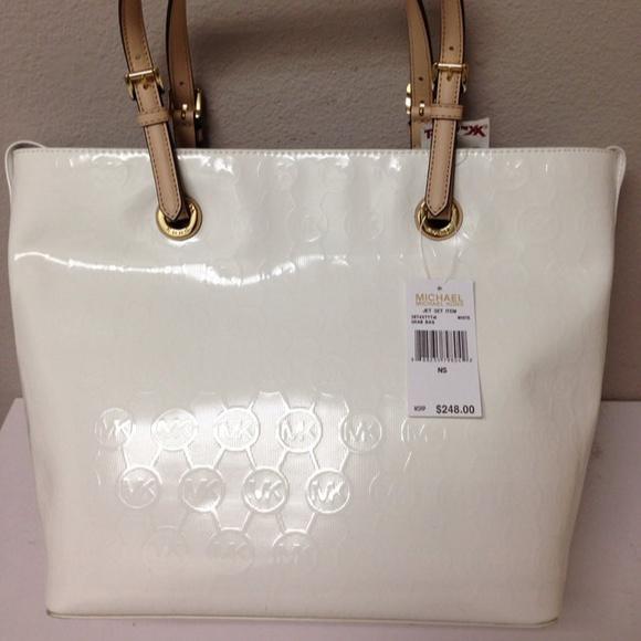 44% off Michael Kors Handbags - Michael Kors Jet Set White Patent ...