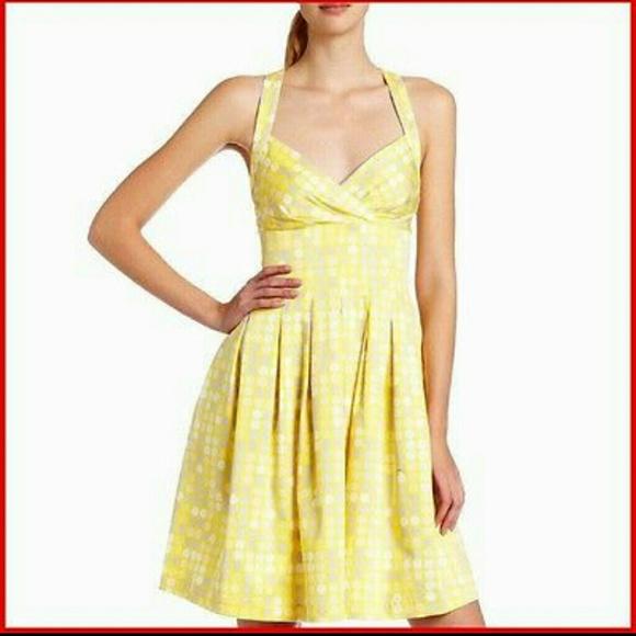 Calvin klein yellow polka dot dress