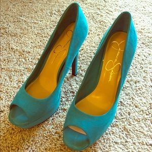 Jessica Simpson turquoise suede platform heels