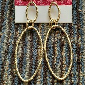 Gold Oval Hula Hoop Earrings